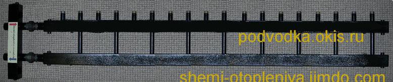 Коллектор отопления для монтажа котельных на 9 контуров с гидрострелкой
