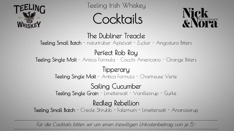 Cocktails - mit Teeling Irish Whiskey - The Dubliner Treacle - Perfect Rob Roy - Tipperary - Sailing Cucumber - Redleg Rebellion
