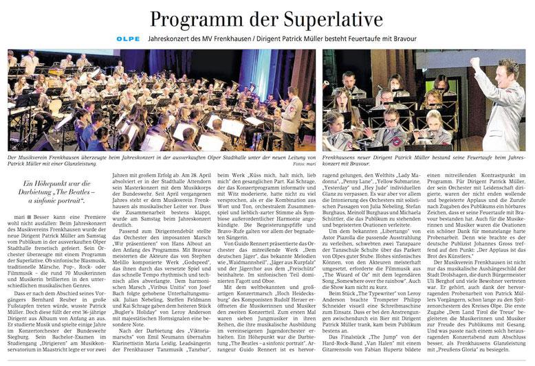 Siegener Zeitung, 08. März 2016