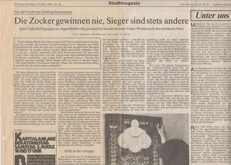 Das große Spiel - Artikel der Badischen Zeitung vom 03.03.1990