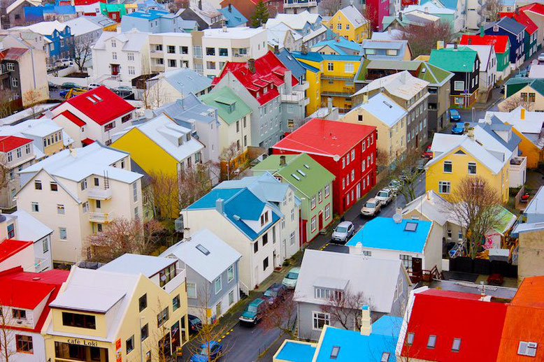 Colorful street of Reykjavik, Iceland