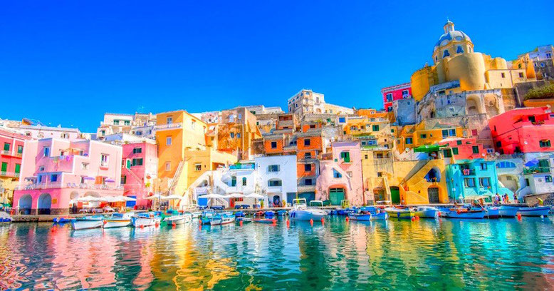 Colorful view of the harbor of Procida in Italy