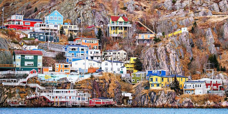 Colorful houses in newfoundland, Canada