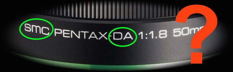 Pentax lens marking and abbreviations