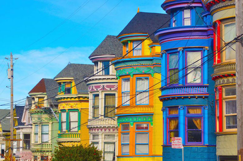 the colorful houses of San Francisco Haight District in USA