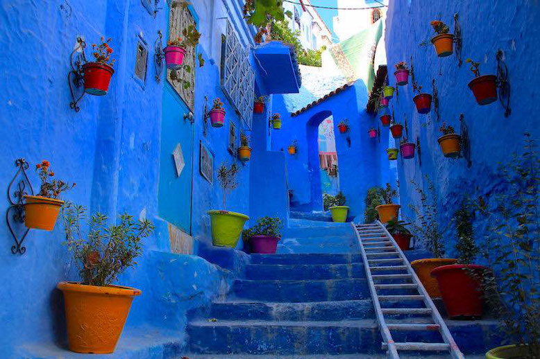 the blue street of Chefchaouen in Morocco