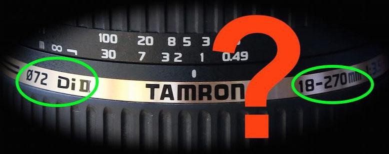 Tamron marking abbreviations