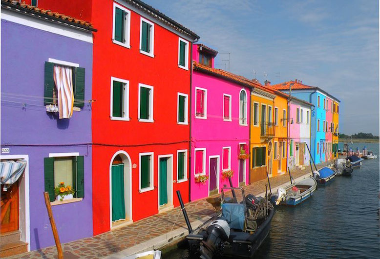 Very colorful buildings around the streets in Burano, Italy