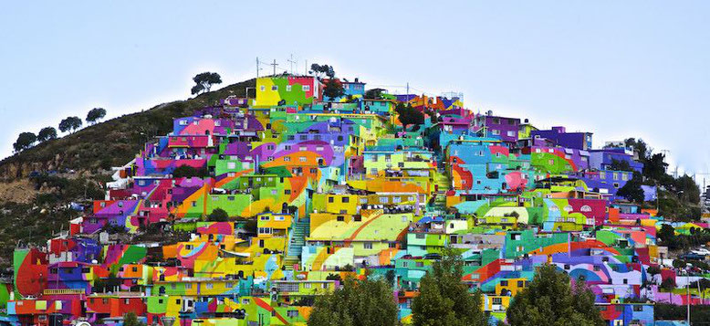 View of the painted village of Pachuca, Mexico