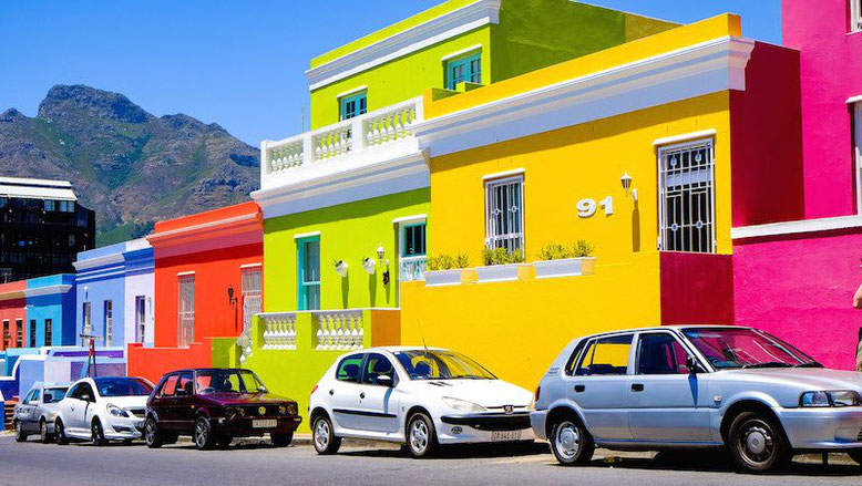Picture of the vivid colors of the streets of Bo Kaap, Cape Town in South Africa