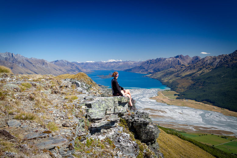 Lake Wakatipu and Dart river bed from the top of mount Alfred