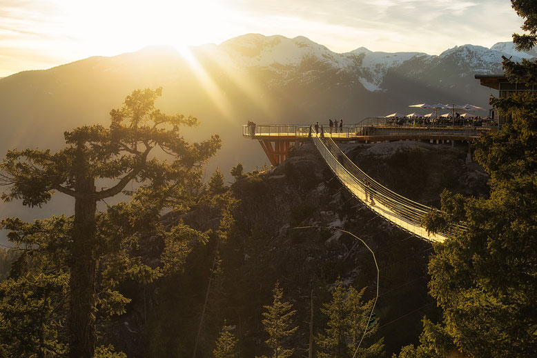 Suspension bridge at the sea to sky gondola. in Squamish. Guide to Sea to Sky Highway