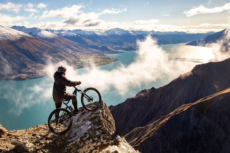 Biking down Mount Bourke near Wanaka, New Zealand