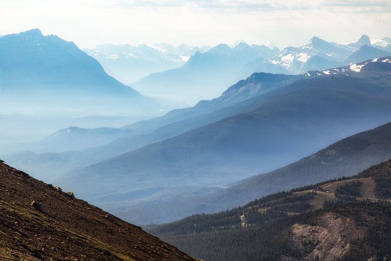 Summer haze from the wildfires in BC seen from the top of Whistlers Summit