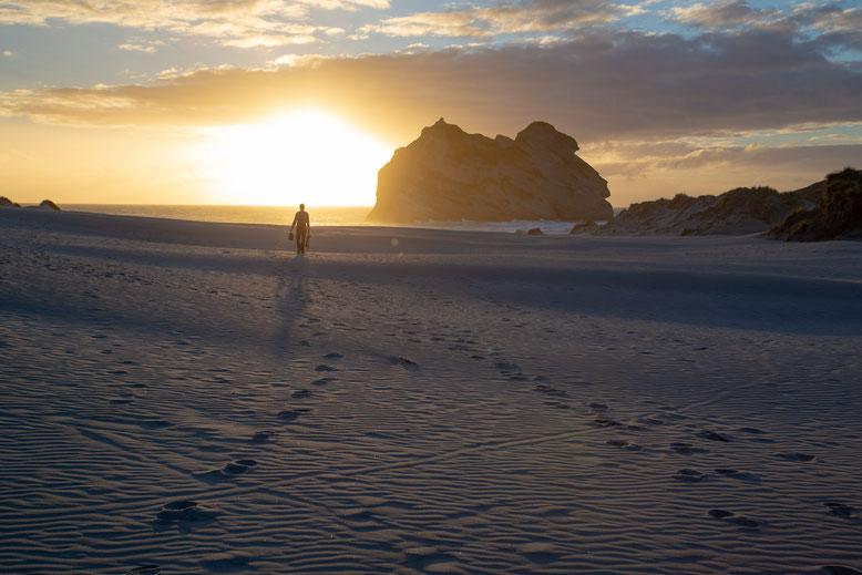 sunset at the Wharariki beach, New Zealand