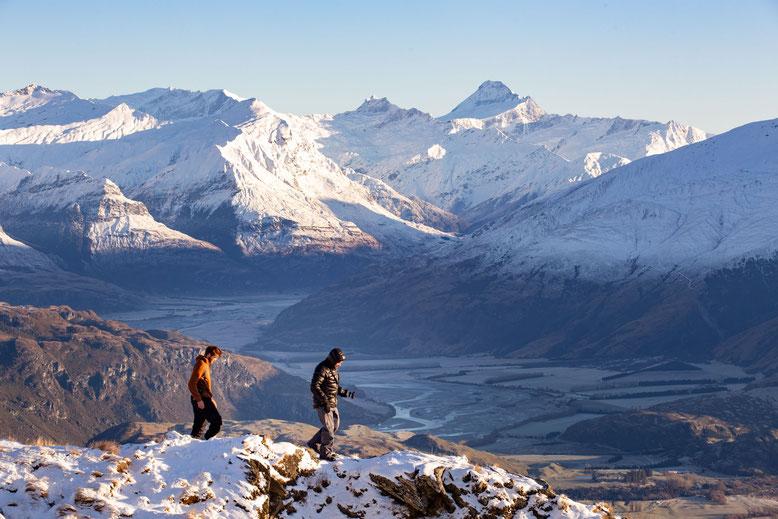 Hiking near Wanaka with Mount Aspiring as the backdrop, New Zealand