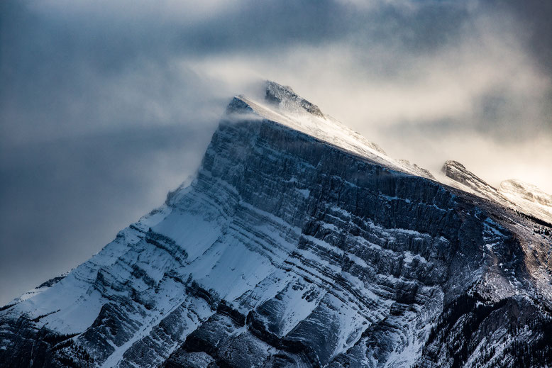 Snow blowing of Mount Rundle in Banff National Park @InAFaraway_Land