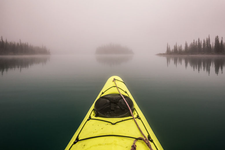 Kayaking in thick mist.