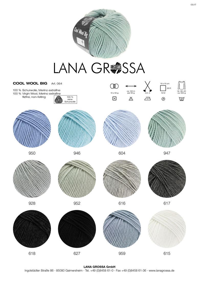 Wolle Kreativ Lana Grossa 336 rosenholz//grau 50g Cool Wool Big melangé