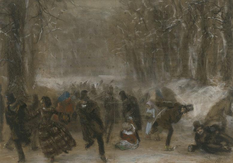 Adolph Menzel, Schlittschuhläufer, 1856 © Kupferstichkabinett der Staatlichen Museen zu Berlin, Preußischer Kulturbesitz