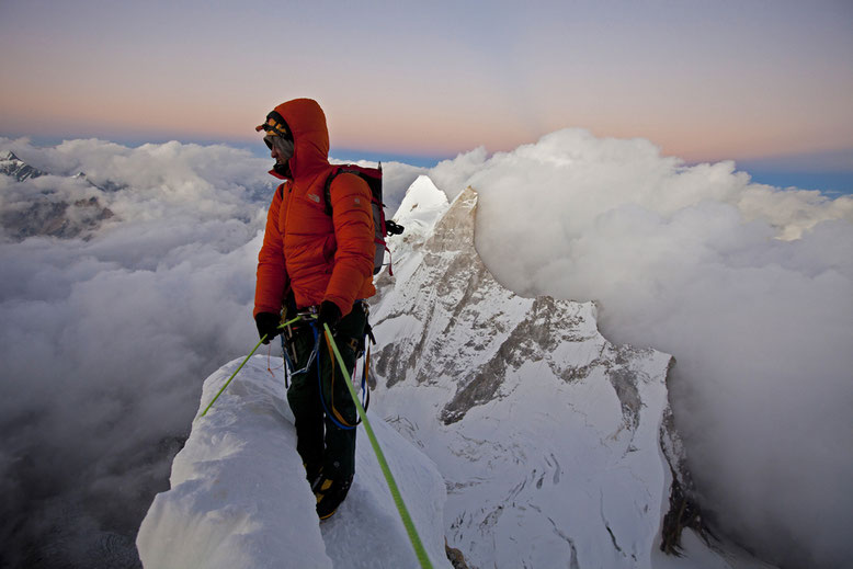 Renan Ozturk photographed on Mt Meru by Jimmy Chin
