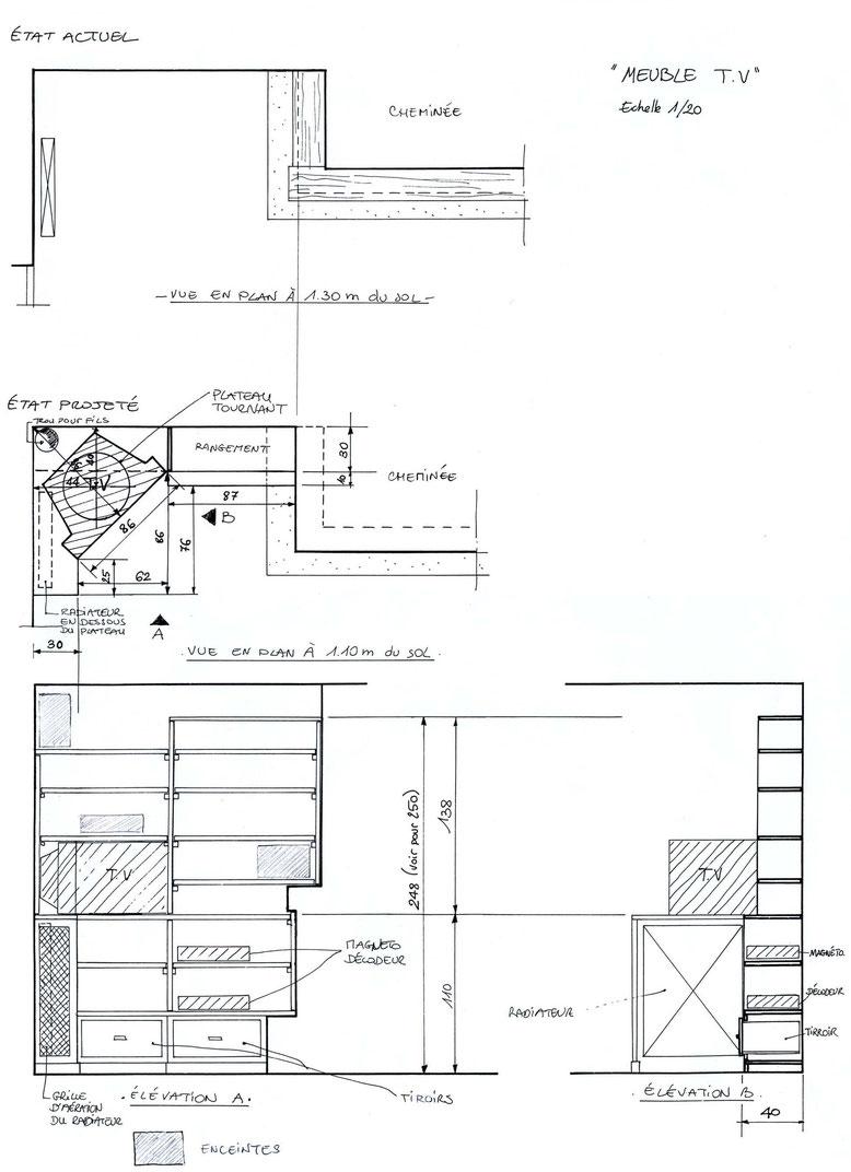 Plan et élévation d'un rangement TV