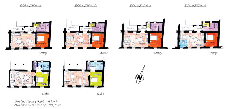 Diverses propositions d'aménagement intérieur