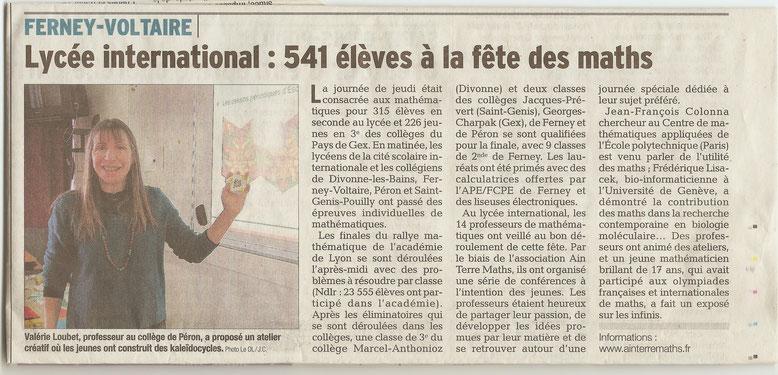 Le Dauphiné Libéré, édition du samedi 22 février 2014