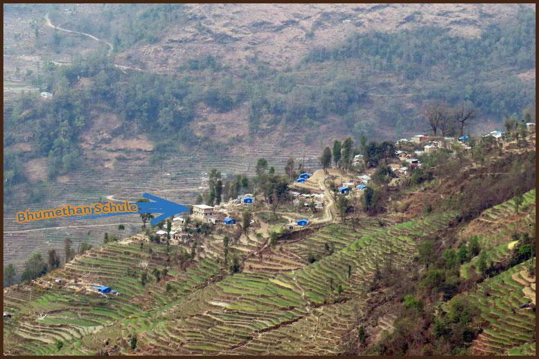 Die Carisimo-Hilfe für Nepal-Schule sieht man aucht vom Berg aus