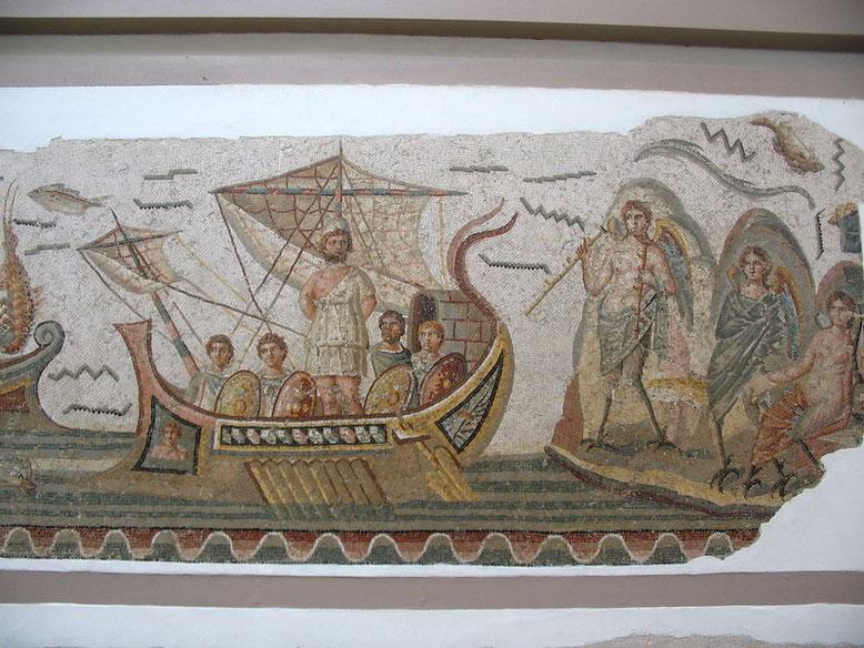 Ulysse sur son bateau résiste aux Sirènes, mosaïque, 250-270 après J.-C., Musée national du Bardo, Tunis.