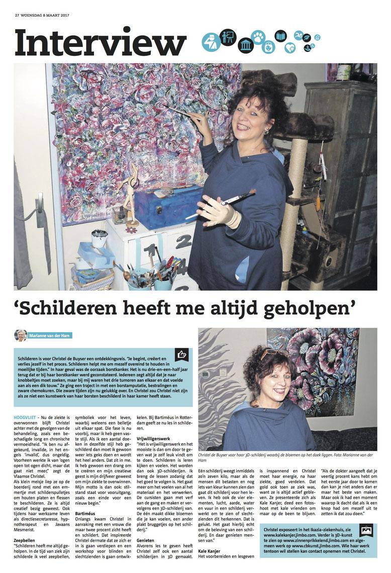 De websites in het artikel staan verkeerd vermeld. Kunst bij Ikazia = www.kalekanjer.jimdo.com