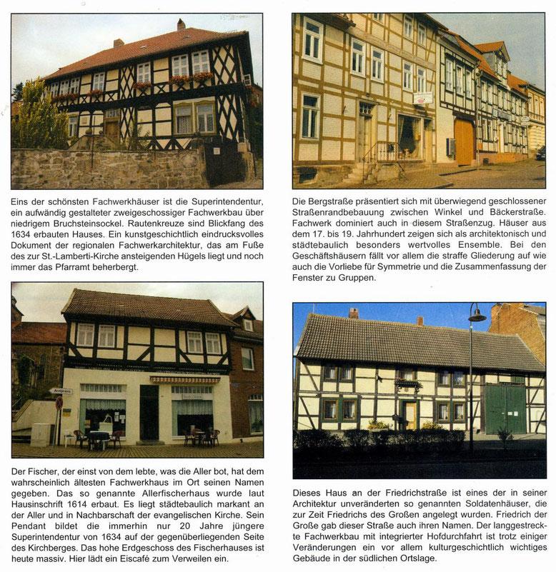 4 Beispiele aus einem Faltblatt Fachwerk im Flecken Weferlingen.
