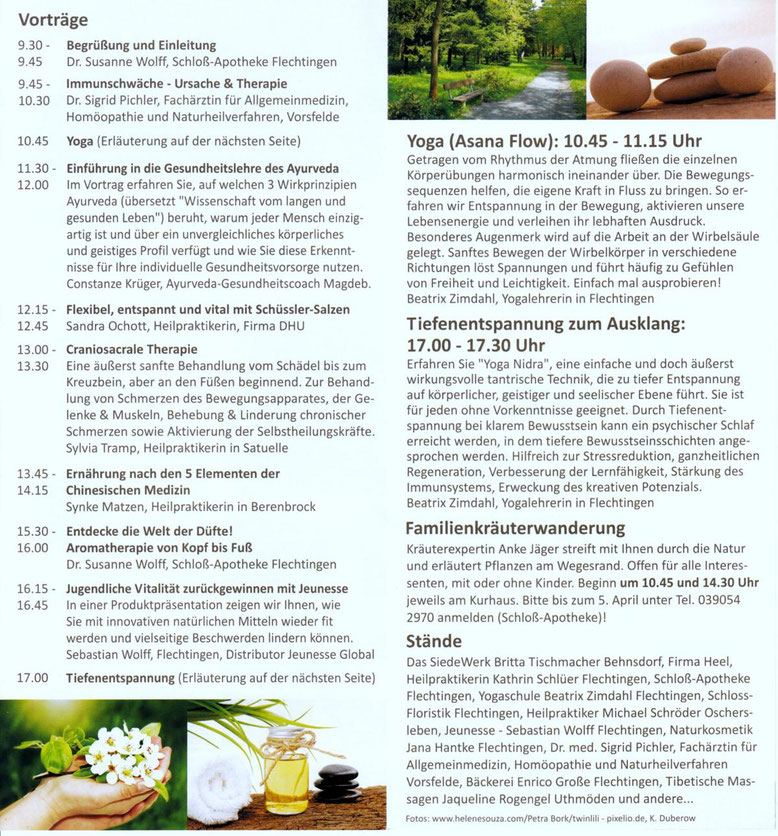 Der Ablaufplan vom 2. Naturheilkundetag in Flechtingen.