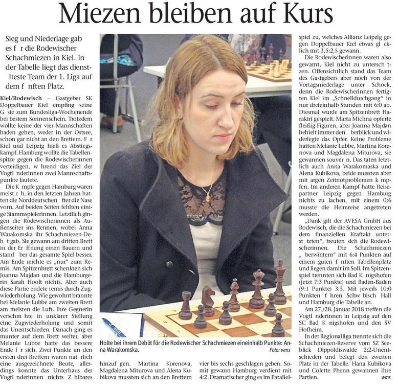 Zeitungsartikel, Miezen bleiben auf Kurs, 19.12.2017