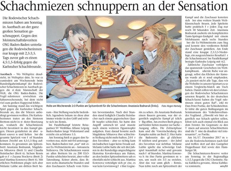 Zeitungsartikel 2017 über Rodewischer Schachmiezen gegen OSG Baden-Baden