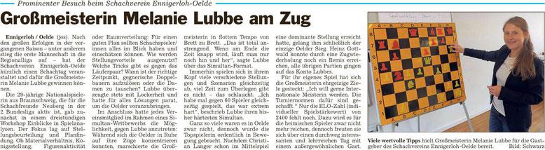 Zeitungsartikel, Schachsimultan, Oelde