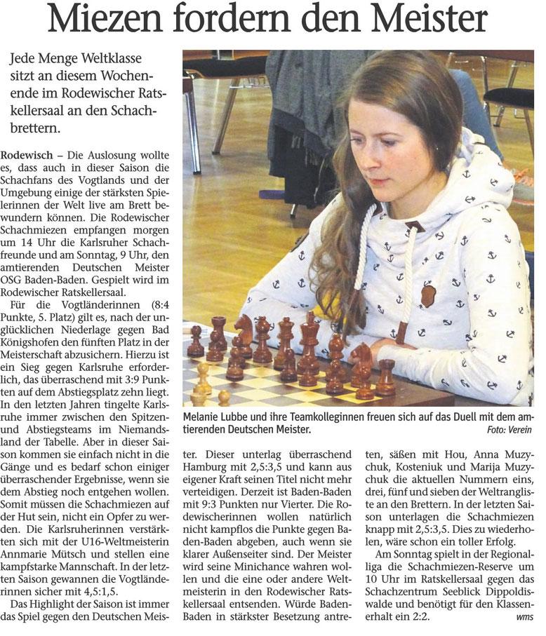 Zeitungsartikel über Schach-Bundesligasaison 2018/19, Rodewischer Schachmiezen