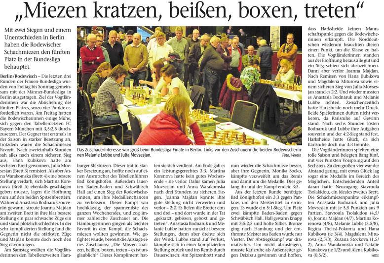 Schachbundesliga 2019 Berlin, Zeitungsartikel