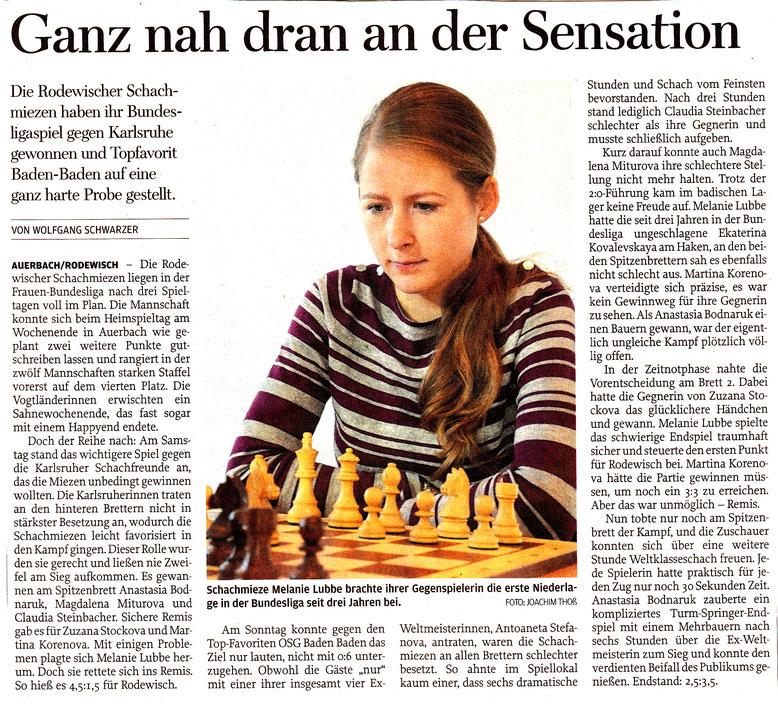 Zeitungsartikel 2017 über Rodewischer Schachmiezen und Melanie Lubbe