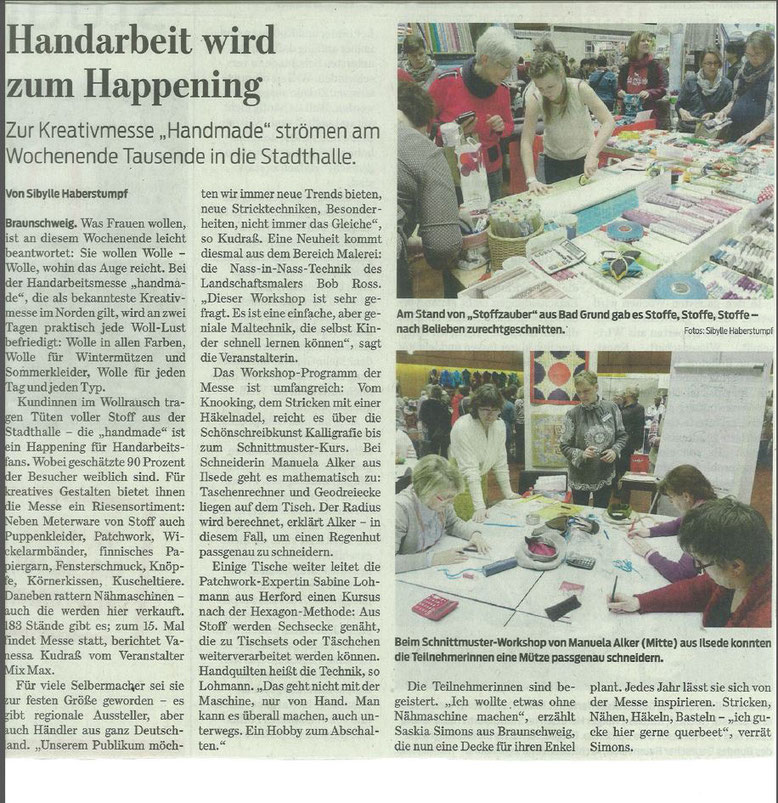 Handmade 2016 Braunschweig, Braunschweig, Handmade, Braunschweiger Zeitung, Stoffe, Stoffmesse, Stoffzauber