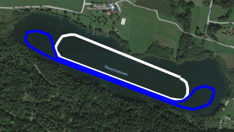 geplante Streckenführung am Ausweichstandort Rauschelesee 2019: Bewerbsstrecke (blau) = 2 km