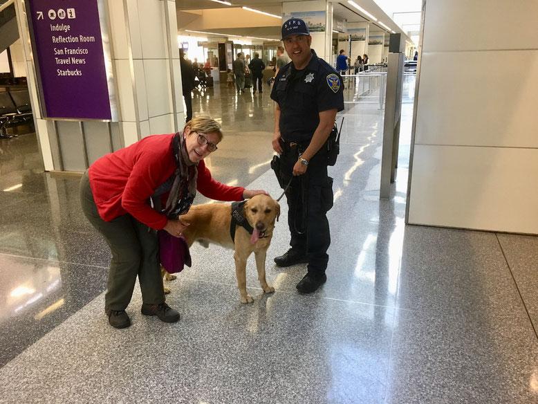 Den Polizeihund ROCKY darf ich sogar streicheln, er verrichtet am Flughafen San Francisco seinen Dienst und ist sooo lieb!