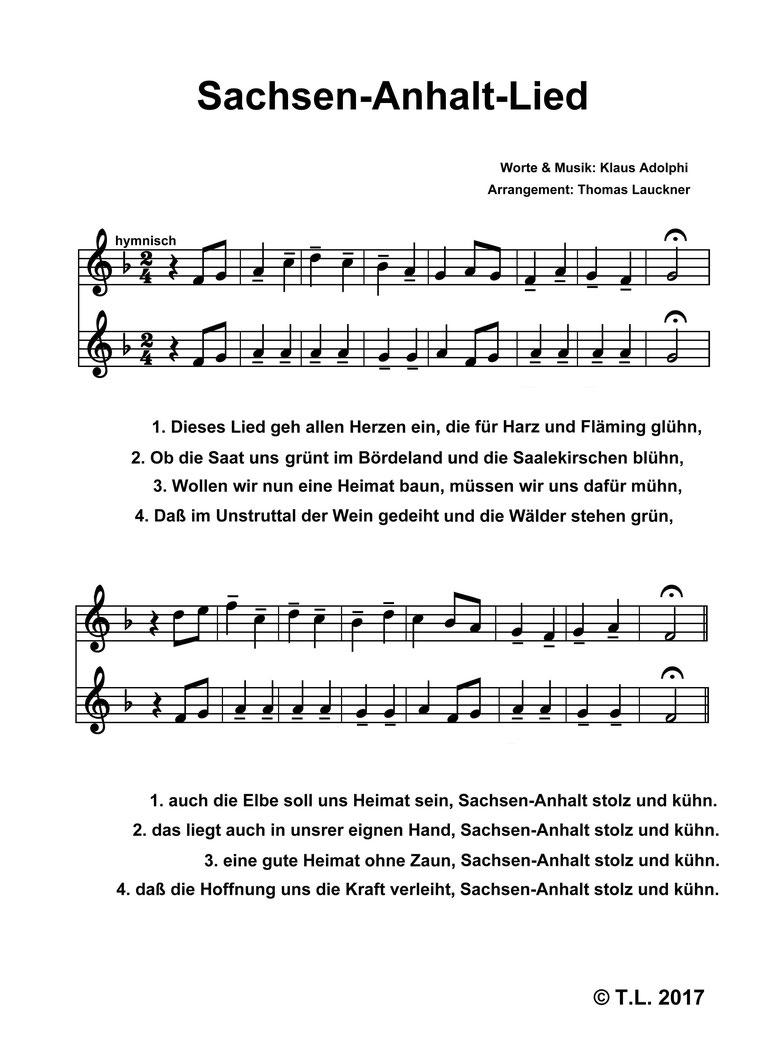 Noten Sachsen-Anhalt-Lied von Klaus Adolphi