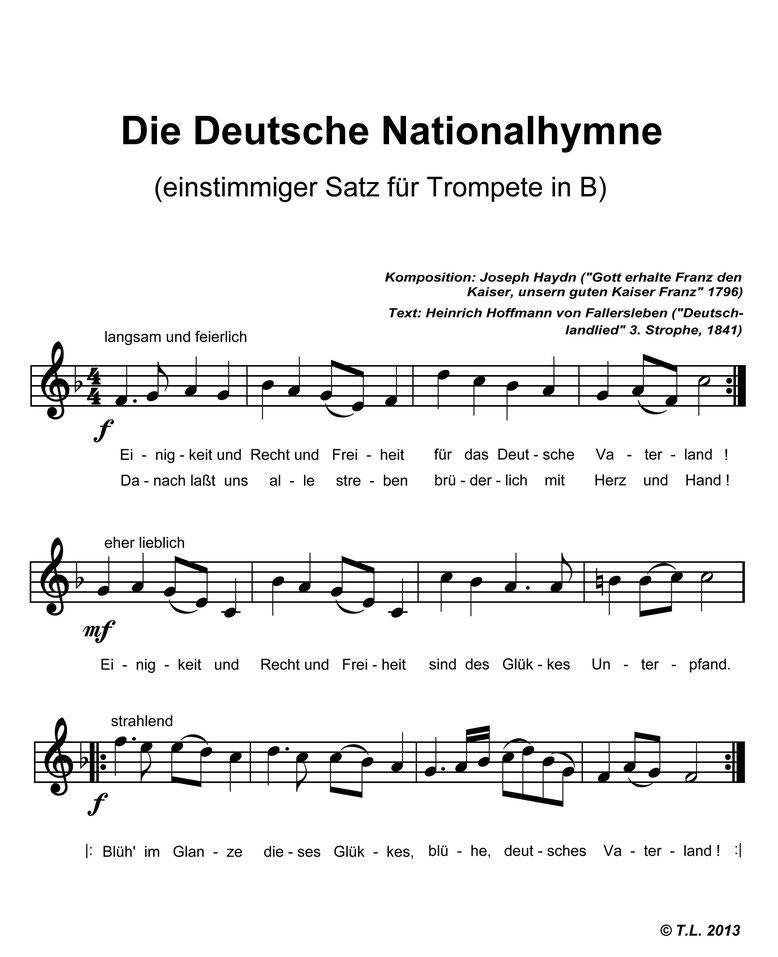 Noten Deutschlandlied von Joseph Haydn