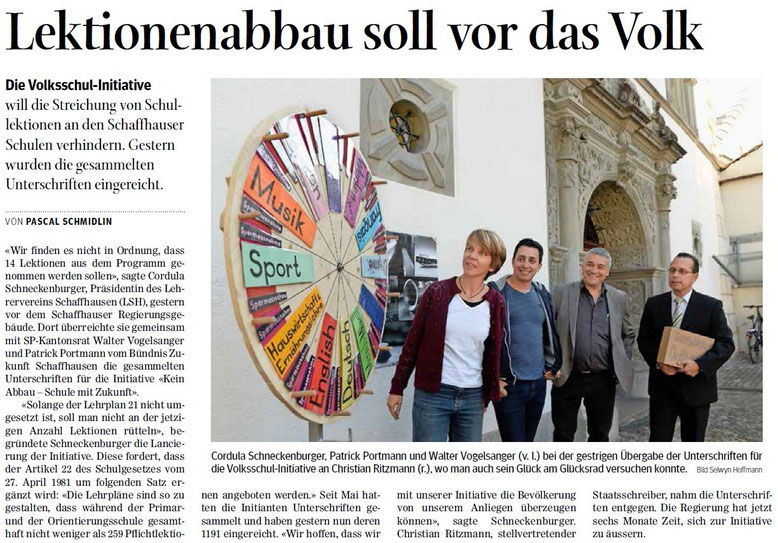 Quelle: Schaffhauser Nachrichten, 22.09.2015