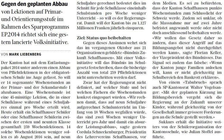 Quelle: Schaffhauser Nachrichten, 12.03.2015