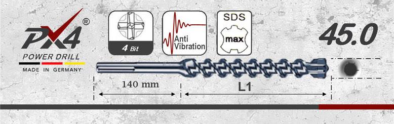 Prodito PX4 hamerboor / klopboor met 4 snijder 45mm  SDSmax opname