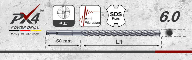 Prodito PX4 hamerboor / klopboor met 4 snijder 6,0mm  SDSplus opname