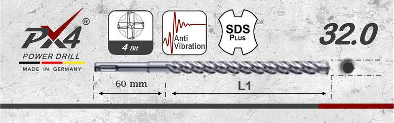 Prodito PX4 hamerboor / klopboor met 4 snijder 32mm  SDSplus opname