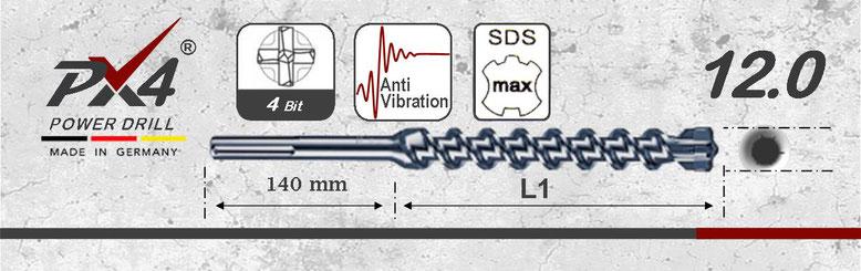 Prodito PX4 hamerboor / klopboor met 4 snijder 12mm  SDSmax opname